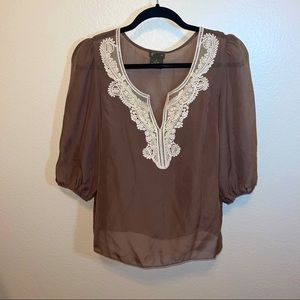 Anthro Fei Taupe Silk Cream Crochet Blouse Small